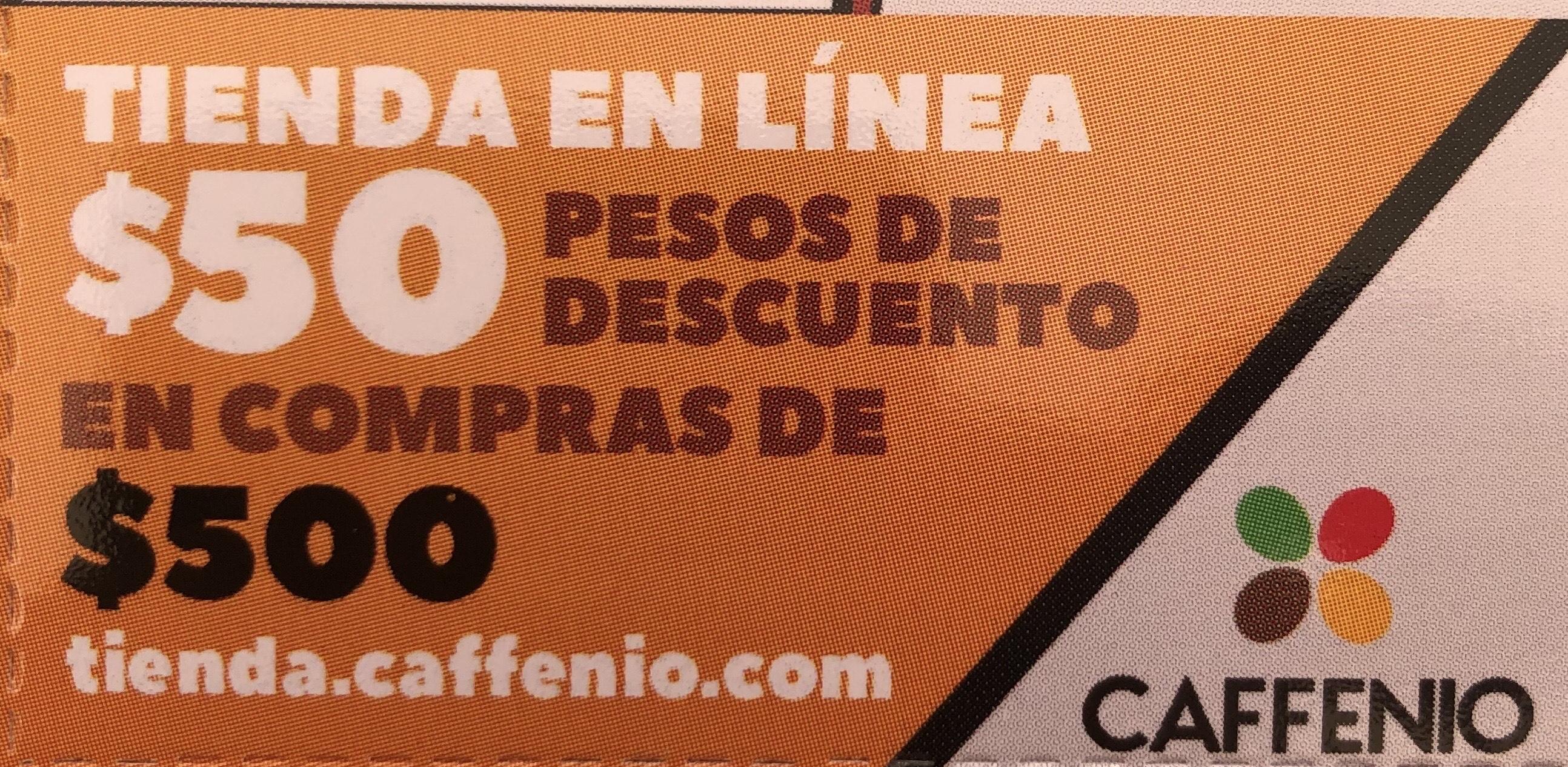 Caffenio: $50 descuento en compra de $500