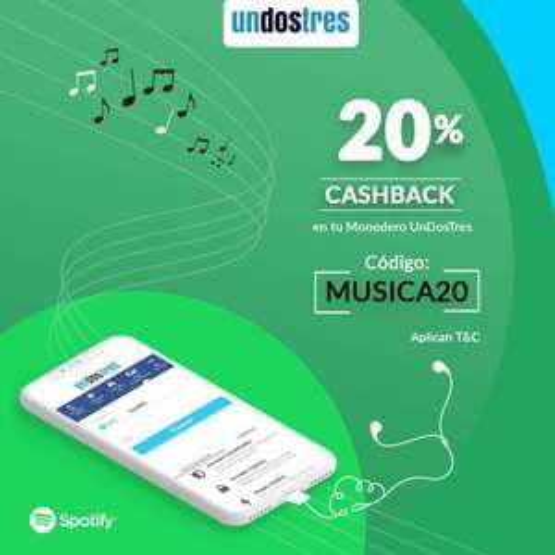 UnDosTres: 20% Cashback en la compra de Spotify Premium del 3 al 5 de Octubre