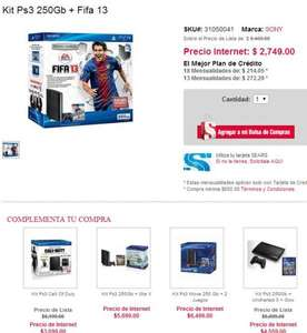 Sears: PS3 250GB + FIFA 13 $2,749 y PS3 + COD MW3 y COD BO $3,099