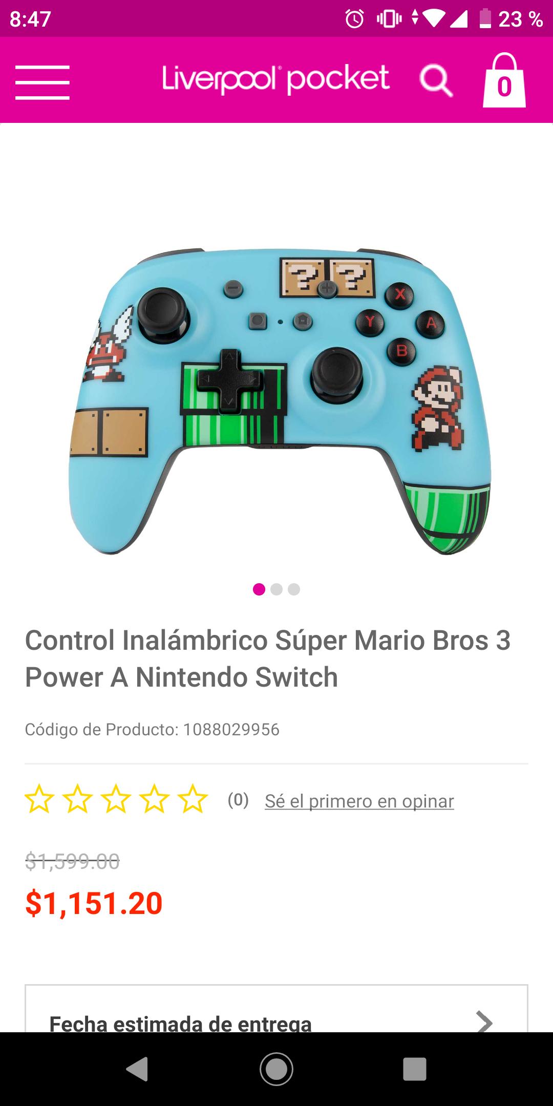 Venta Nocturna Liverpool - control inalambrico para switch edición super Mario 3