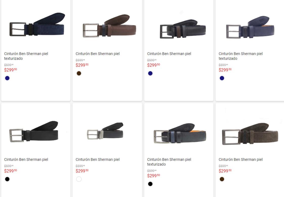 Liverpool: Cinturones Ben Sherman Piel Varias tallas y diseños (Envio Gratis)