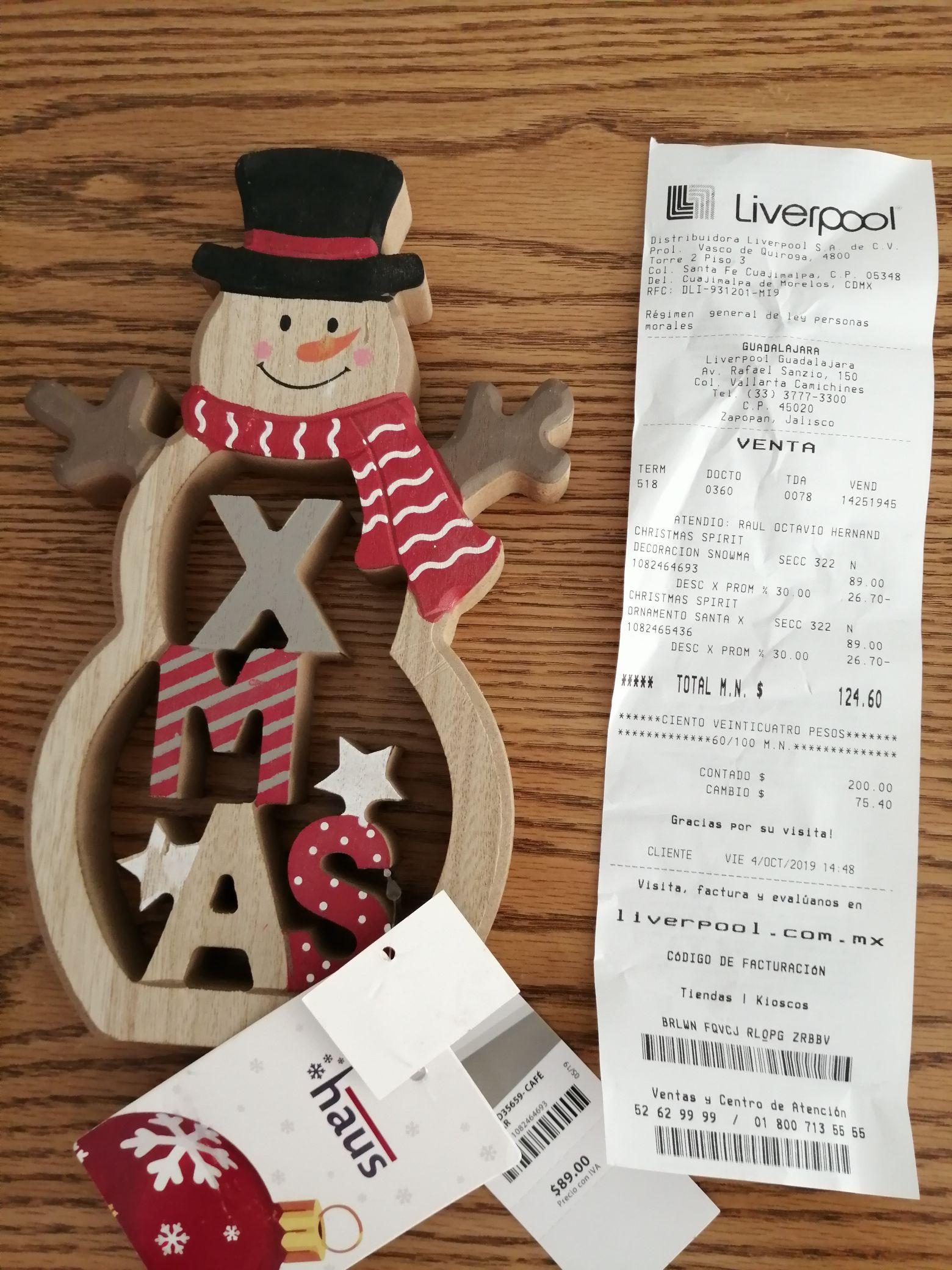 Liverpool 30% en artículos navideños y halloween