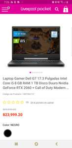 Liverpool en línea: Laptop Gamer Dell G7 17.3 Pulgadas Intel Core i5 8 GB RAM 1 TB Disco Duuro Nvidia GeForce RTX 2060