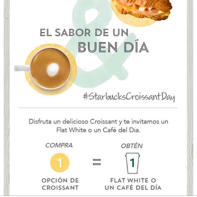 Starbucks: gratis café o flat white comprando croissant el 30 de enero