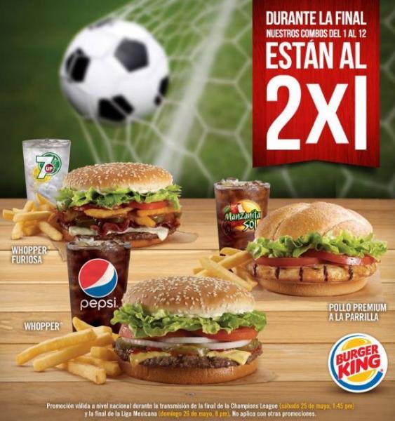 Burger King: combos al 2x1 durante las finales de Champions y de Liga