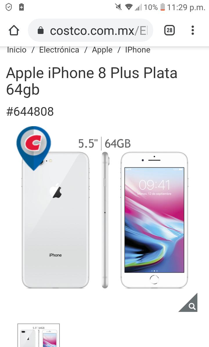 Costco: Apple iPhone 8 Plus Plata 64gb