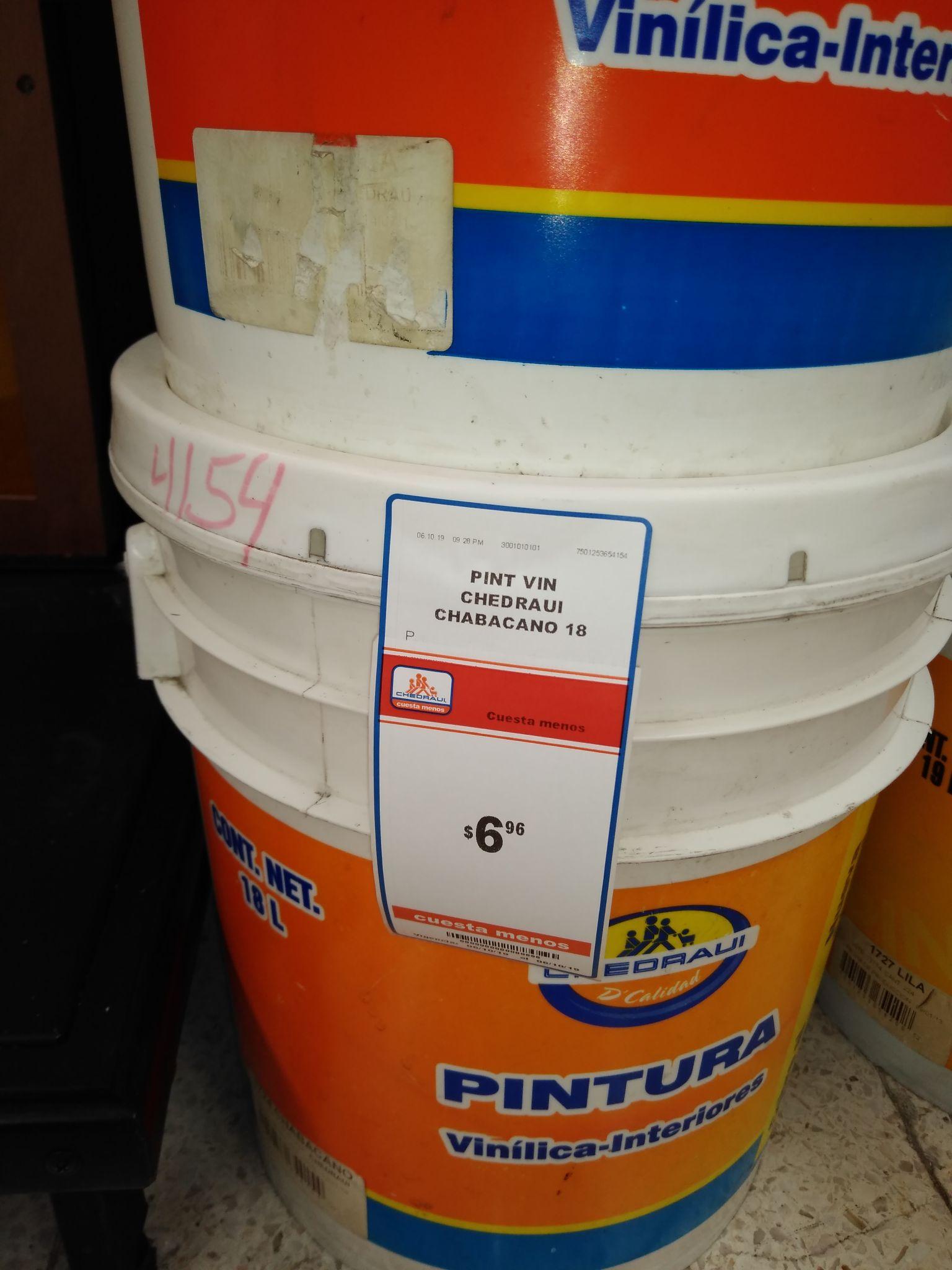 Chedraui: Pintura Vinílica Chedraui de 18 litros.