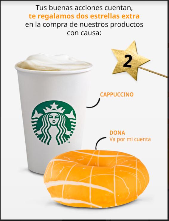 Starbucks: 2 stars al comprar  Cappuccino y/o Dona naranja