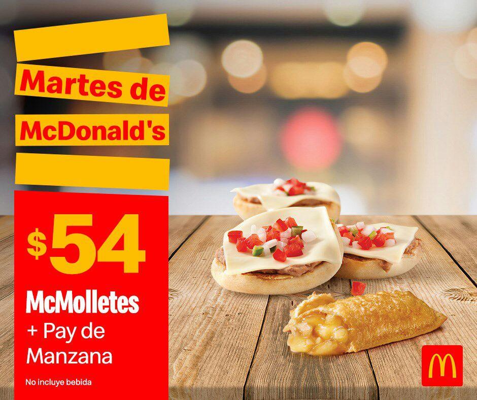 McDonald's: Martes de McDonald's Desayuno 8 Octubre: McMolletes + Pay de Manzana $54