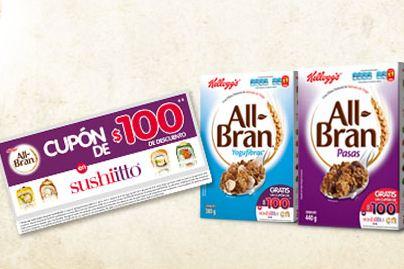 Cupón de $100 para Sushi Itto en cajas de cereal All Bran