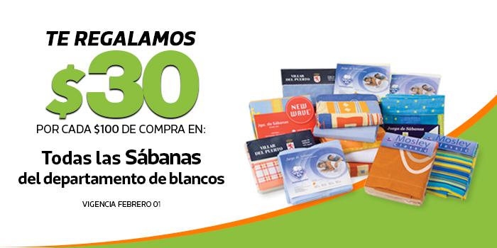 Comercial Mexicana: $30 de descuento por cada $100 en todas las Sábanas del dpto. de blancos