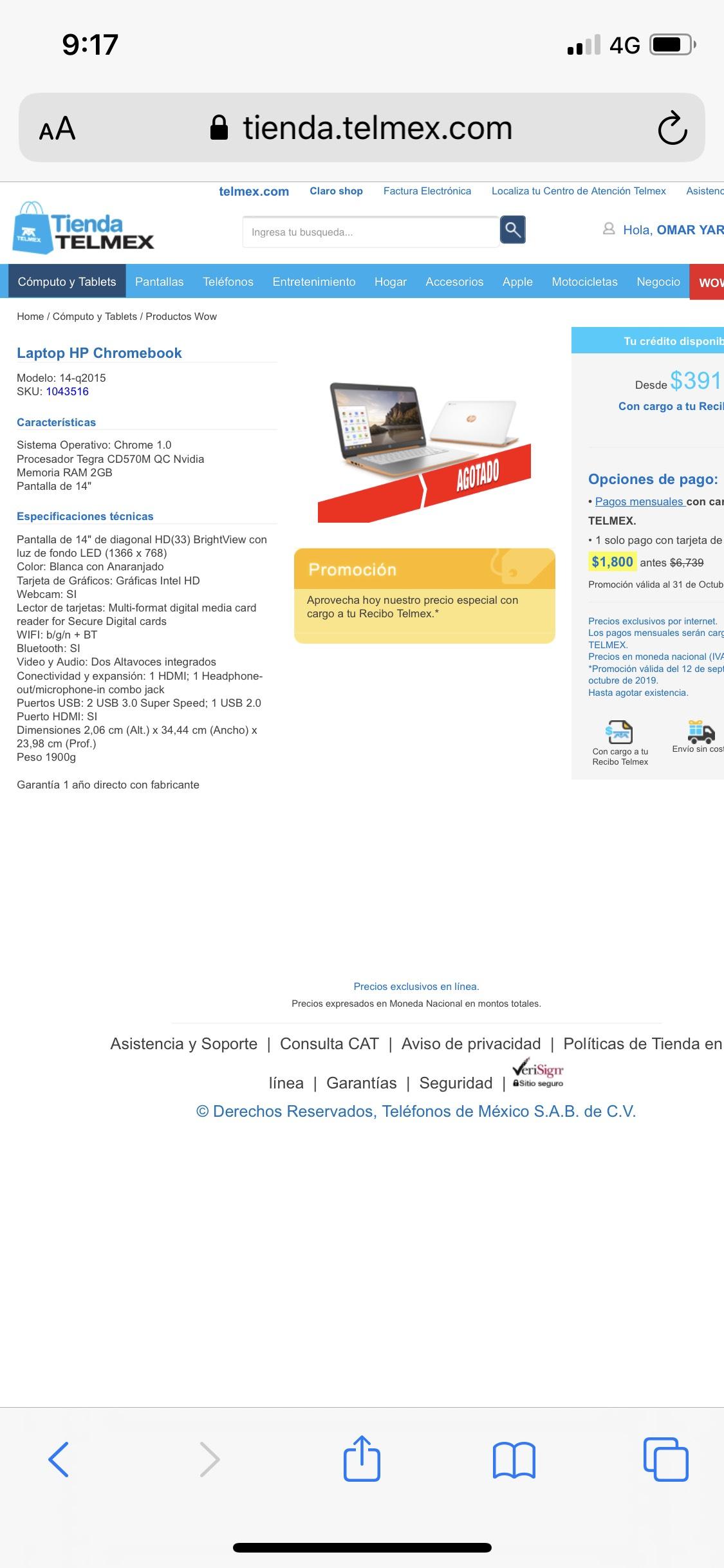 Telmex: Laptop HP Chromebook $1,800.00