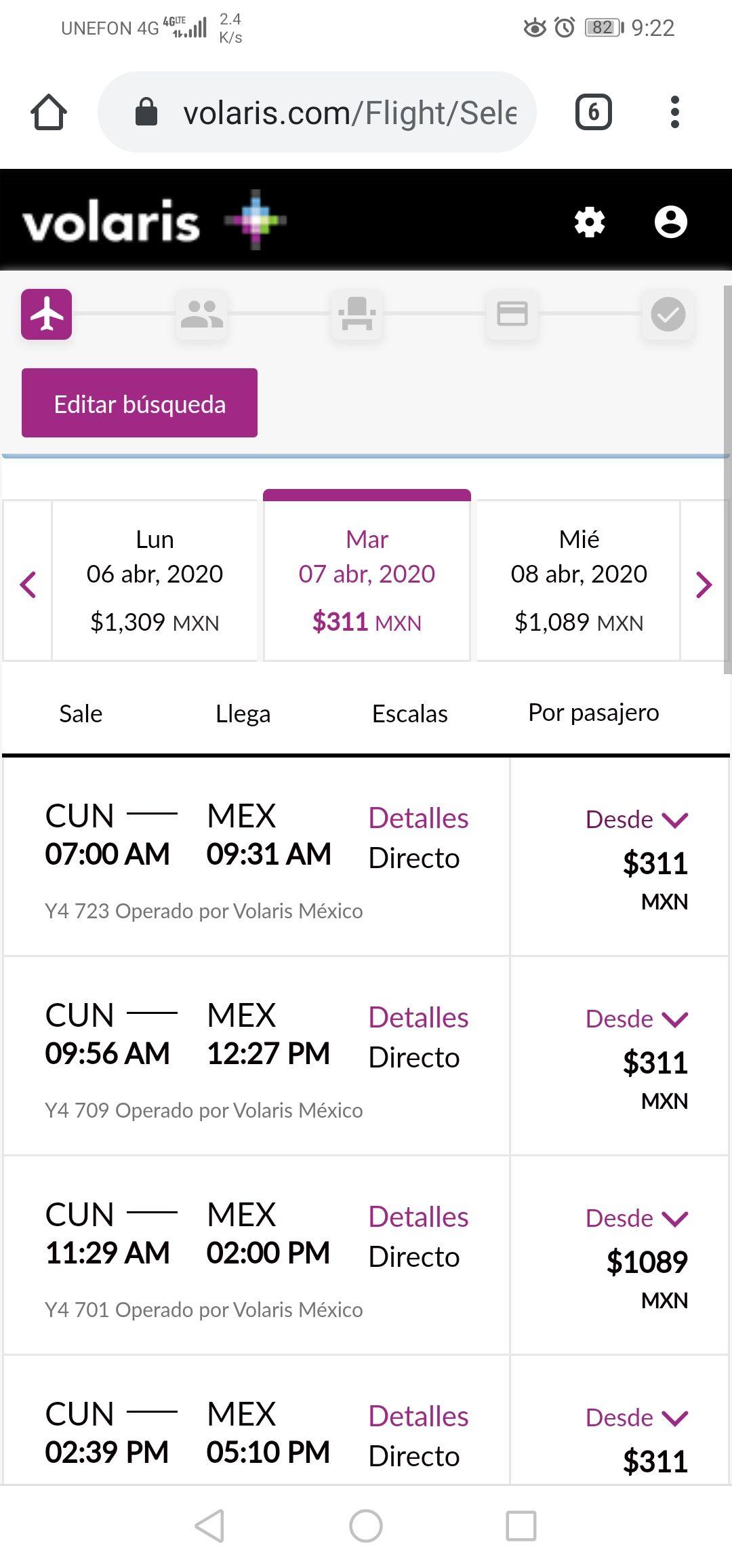 Volaris, Cancún a Ciudad de México