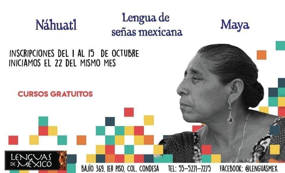 CURSOS GRATUITOS DE LSM, NÁHUATL Y MAYA