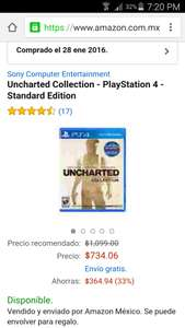 Amazon: UNCHARTED COLLECTION para PS4