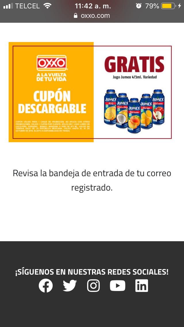 Oxxo cupón Jumex latita gratis (cupón diferente al ya publicado)