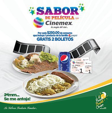 Los Bisquets Bisquets Obregón: 2 boletos de Cinemex gratis con consumo de $250