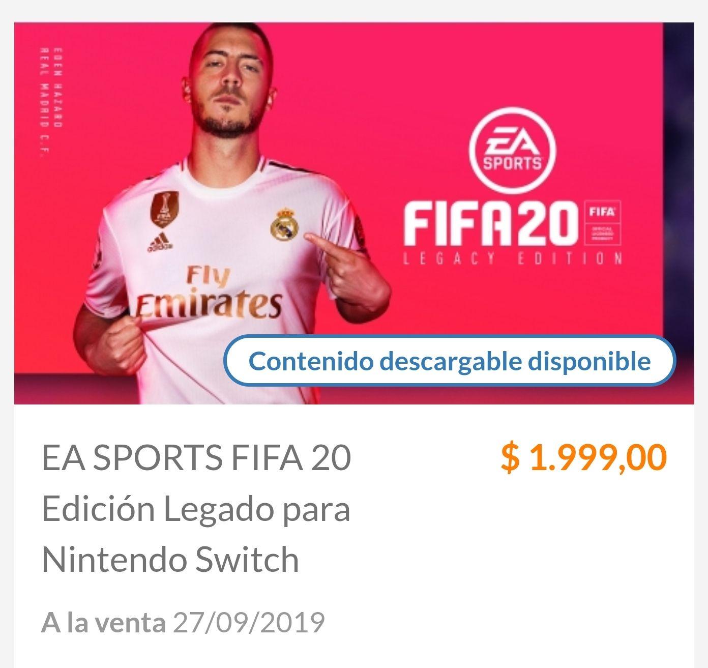 Nintendo Eshop Argentina: FIFA 20 SWITCH
