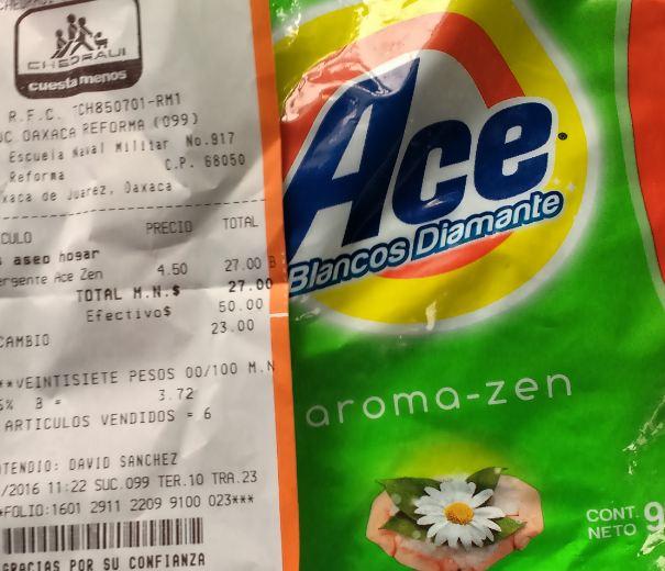 Chedraui Reforma Oaxaca, Detergente Ace 900g $4.50