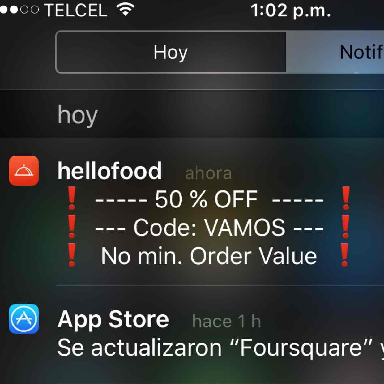 Hellofood 50% descuento codigo VAMOS sin minimo de orden