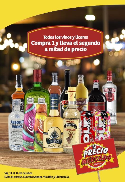 Soriana Mercado y Express: 2 x 1 1/2 en todos los vinos y licores