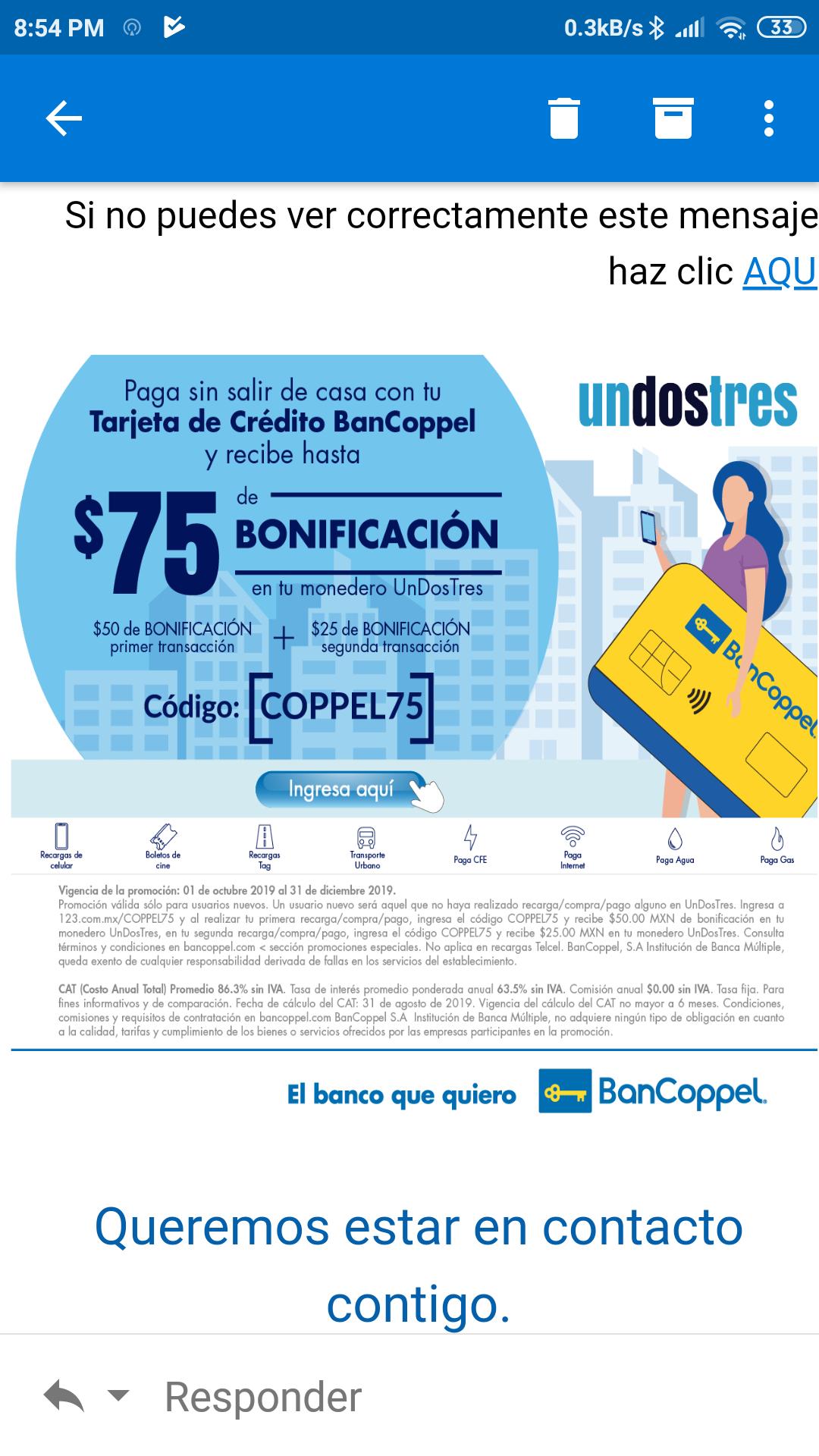 Unosdostres: Bonificación de $75 en monedero pagando con Bancoppel