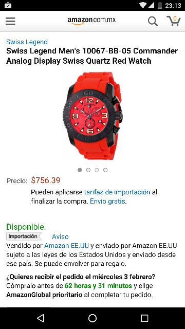 Amazon: Swiss Legend Men's 10067-BB-05 Commander Analog Display Swiss Quartz Red