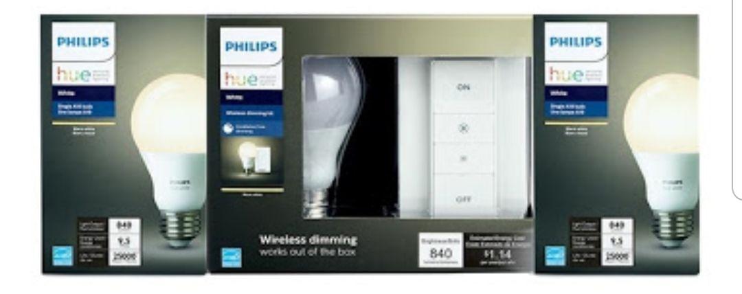 Walmart: Set de Iluminación Philips Hue Blanco 3 Piezas más Dimmer Switch