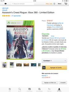 Amazon: Assassins Creed Rogue para Xbox 360