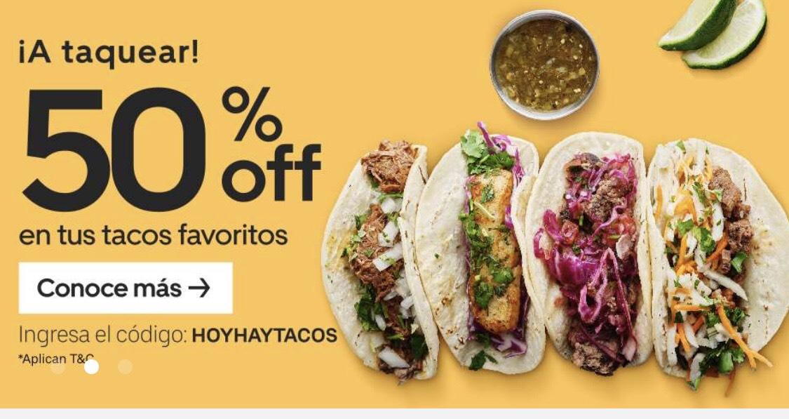 Uber Eats: 50% en tacos
