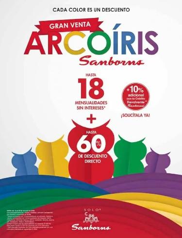 Sanborns: Gran Venta Arcoiris: Hasta 18 MSI + Hasta 60% de descuento directo + 10% adicional con crédito revolvente Sanborns