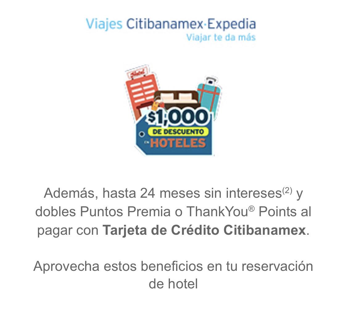 Expedia: $1000 de descuento Citibanamex