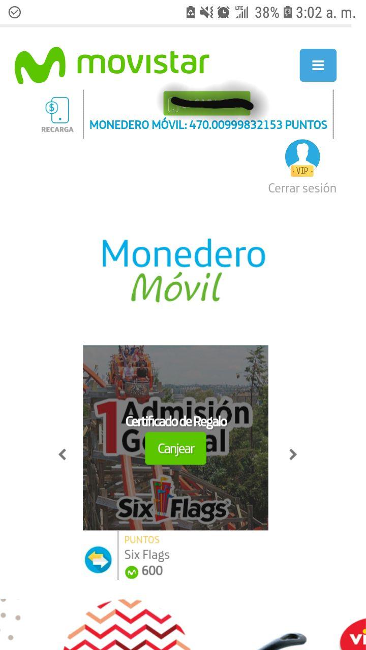 """Movistar: BOLETO DE ADMISION GENERAL AL SIXFLAGS """"GRATIS"""" por 600 puntos usuarios VIP"""