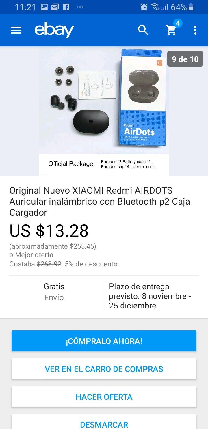ebay Xiaomi Airdots originales más otras promociones