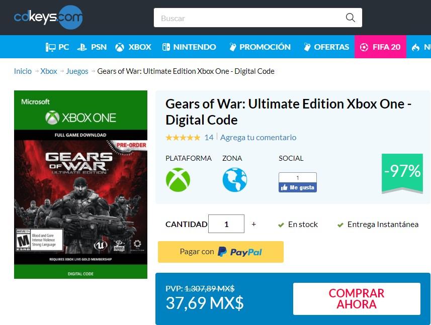 cdkeys Gears of War: Ultimate Edition Xbox One - Digital Code