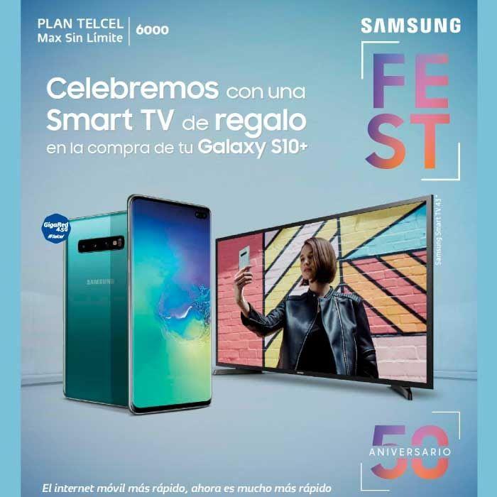 """Telcel: Smartv Samsung gratis 43"""" Full HD en la compra de un Samsung Galaxy S10+"""