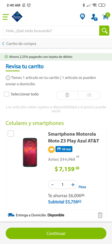 Sam's: Moto Z3 Play AT&T
