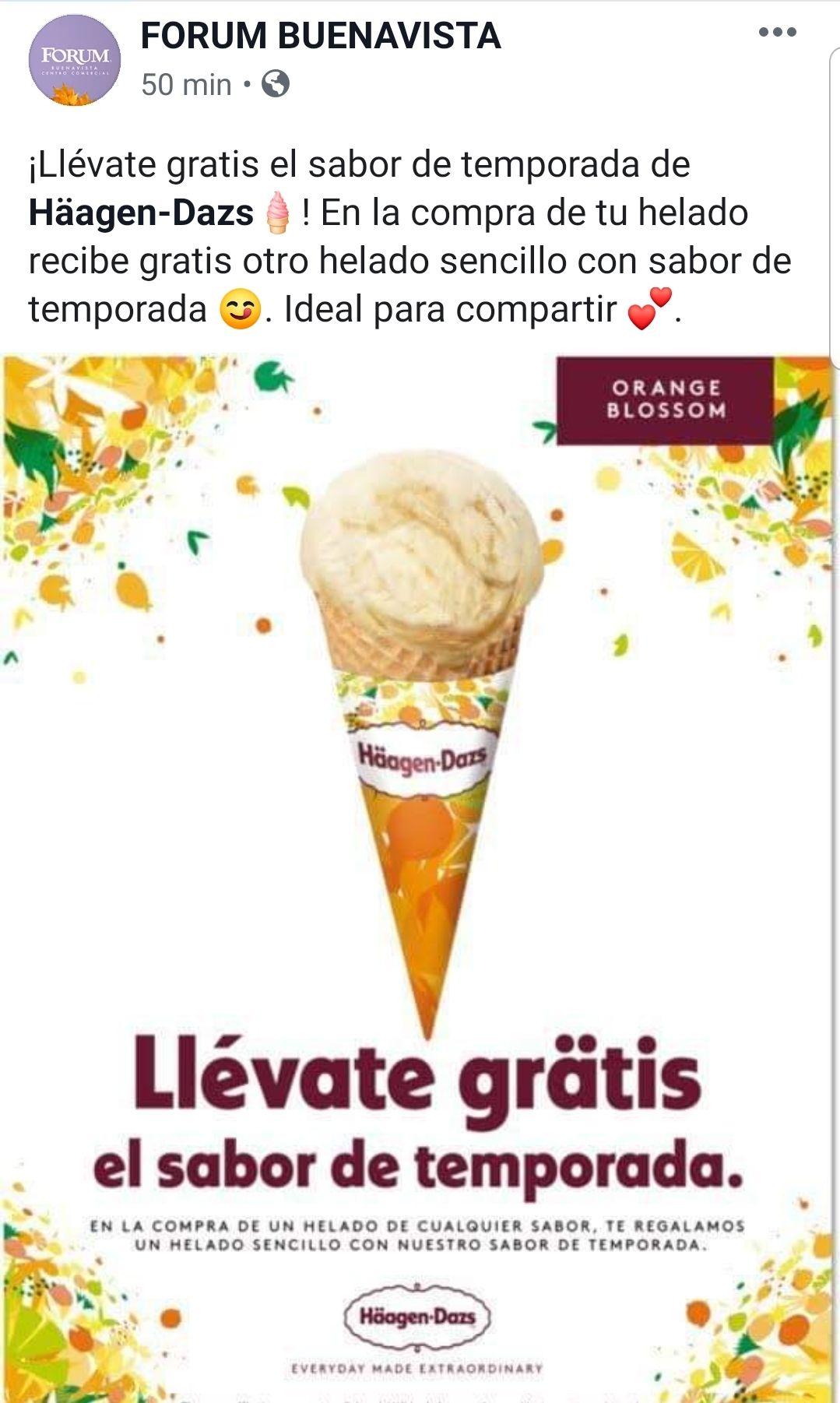 Haagen dazs: en la compra de un helado llevate gratis un helado del sabor de temporada