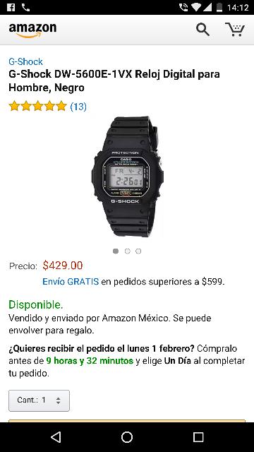 Amazon: G-Shock DW-5600E-1VX Reloj Digital para Hombre, Negro