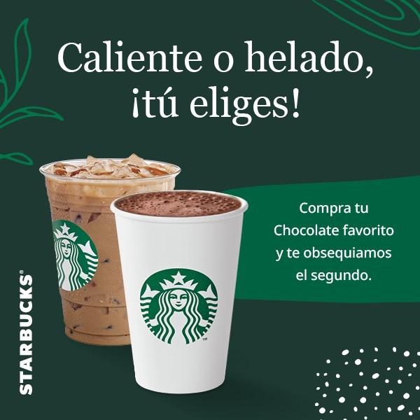 Starbucks: 2x1 en chocolate frio o caliente