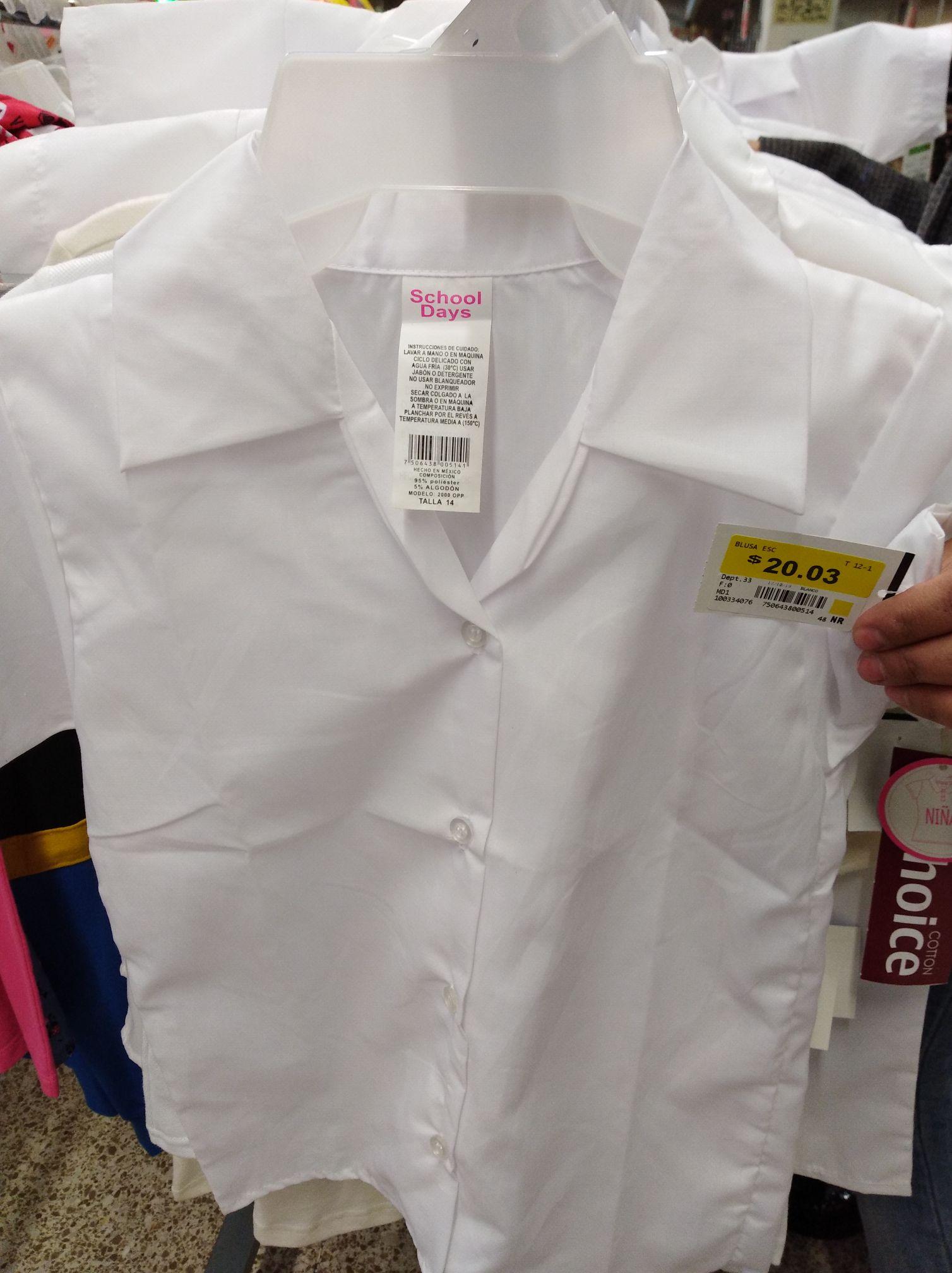 Bodega Aurrera Plaza Dorada PUEBLA: Camisa escolar para niña