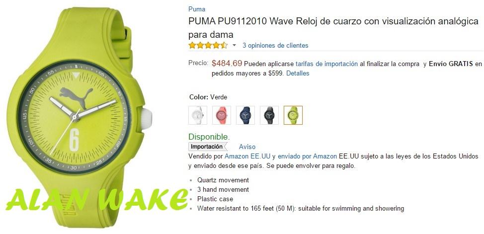 Amazon: Reloj puma visualización analógica para dama
