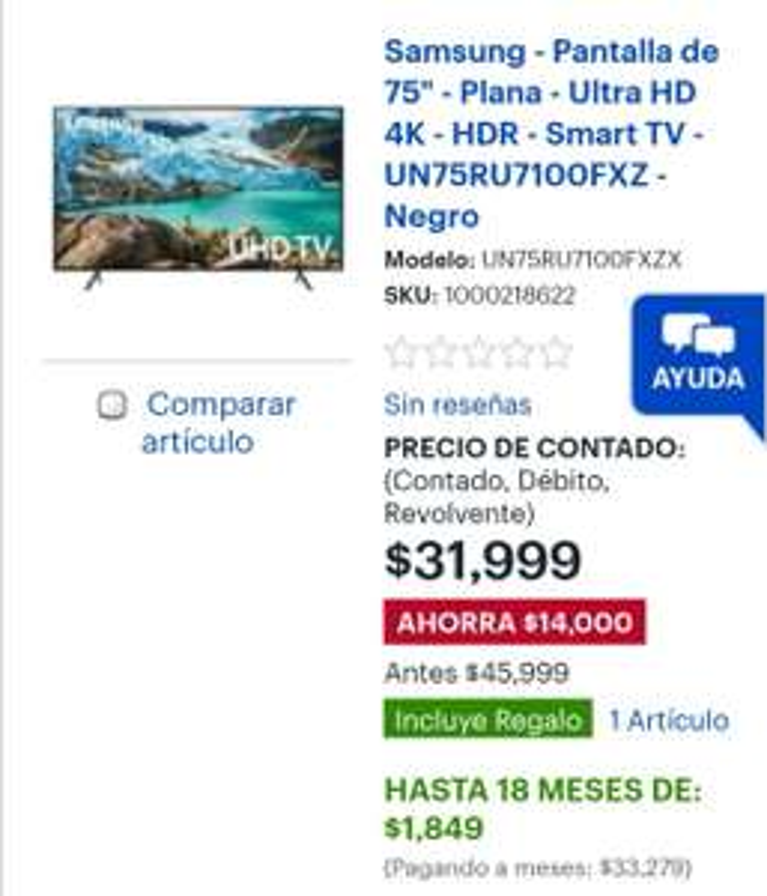 "Best Buy: Pantalla Samsung 75"" UHD 4k mas pantalla de 32"" gratis"