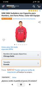 Amazon: sudadera Chicago Bulls talla Grande