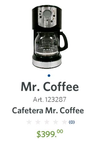 Sam's Club: Cafetera MrCoffee Mod. CJX21CP a $399