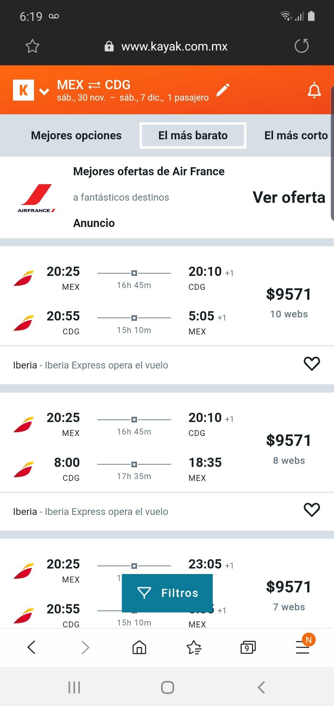 Vuelo redondo México París $9571.0 por iberia 30nov-7dic