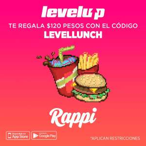Rappi: Level up te regala 120 en Rappi (nuevos usuarios)