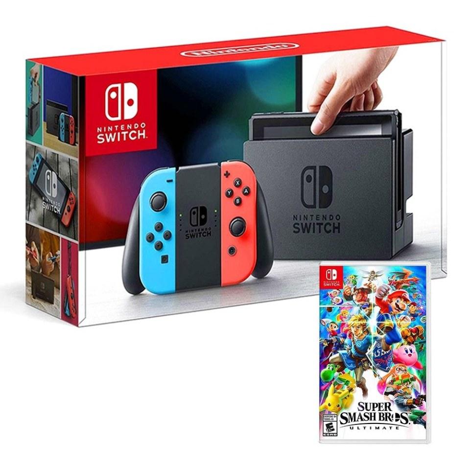 Walmart en línea: Nintendo Switch neon + Super Smash Bros Ultimate