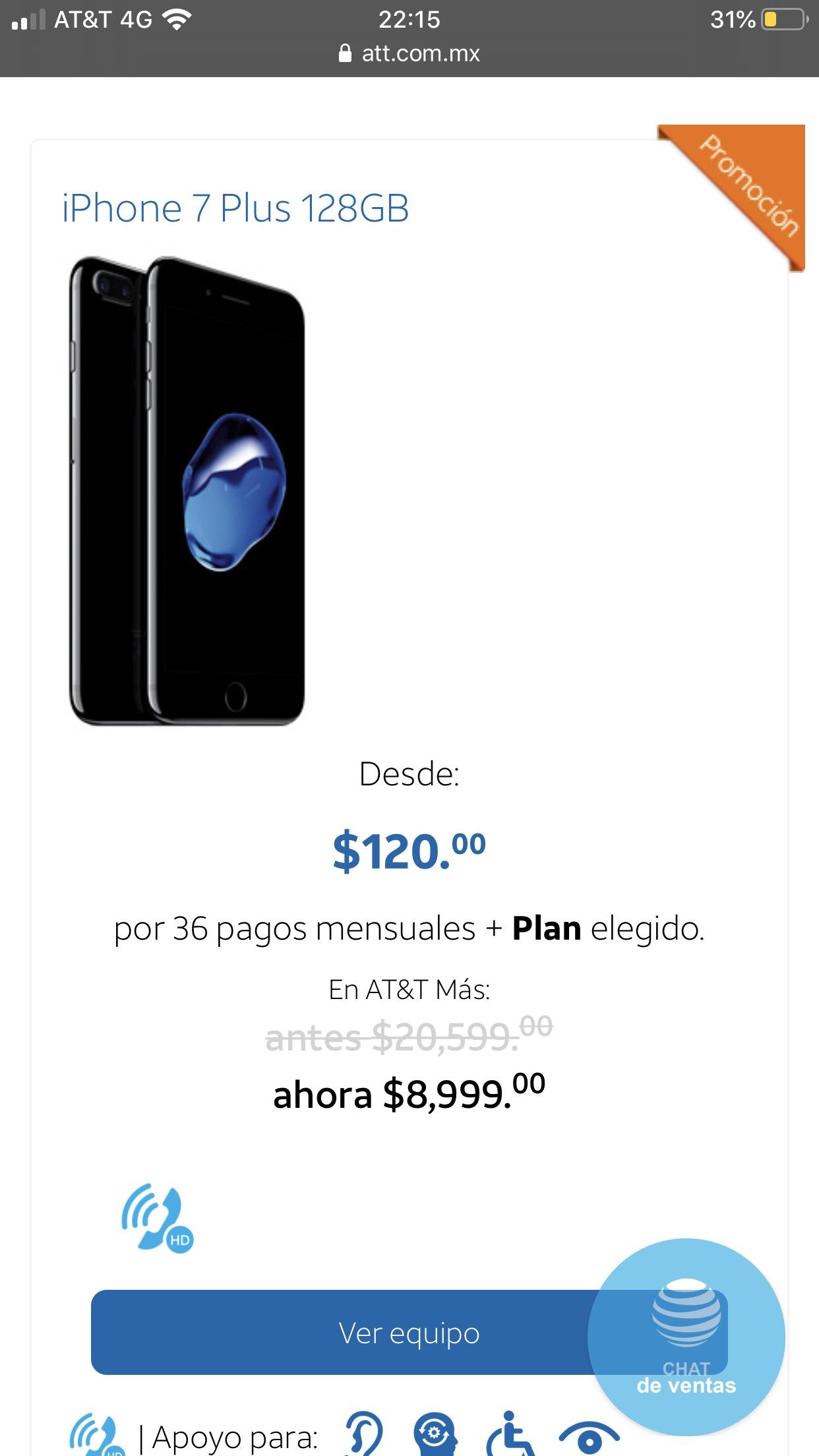 AT&T: iPhone 7 Plus 128 gb