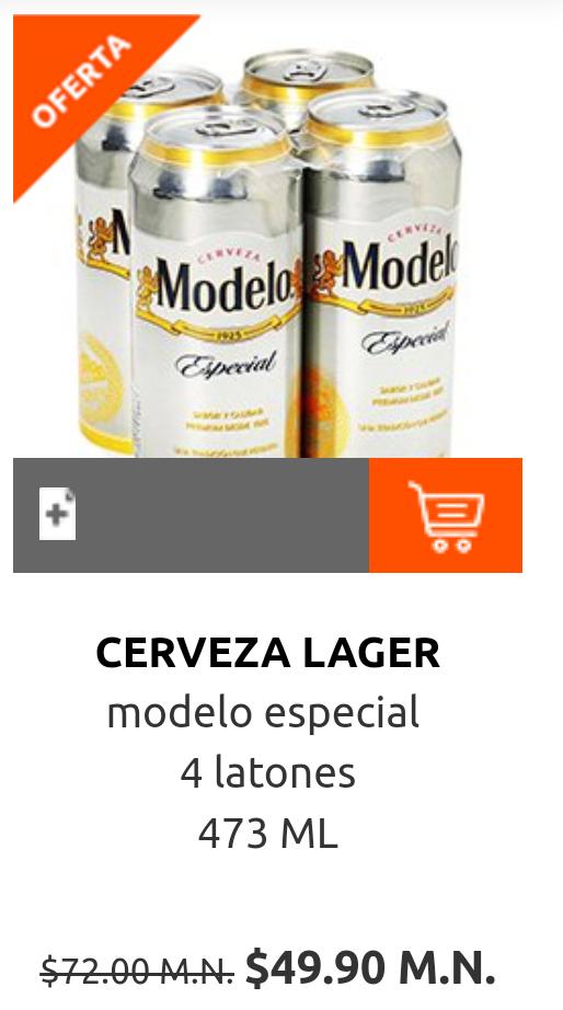 La Comer Villa Coapa: 4 pack de Cerveza Modelo Especial latón 473 ml. $49.90